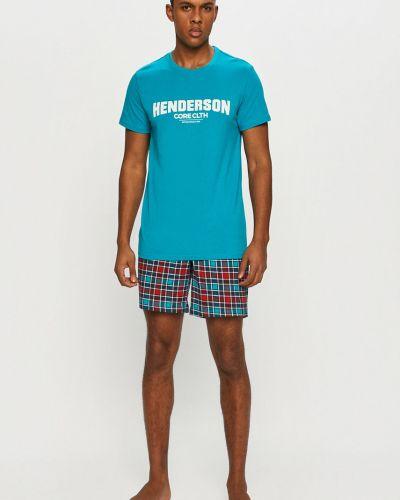 Piżama bawełniana turkusowa Henderson