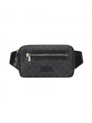 Черная кожаная поясная сумка на молнии Gucci