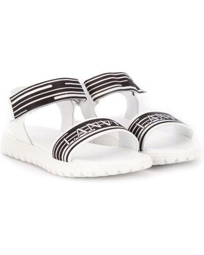 Открытые кожаные белые сандалии на липучках Lanvin Enfant