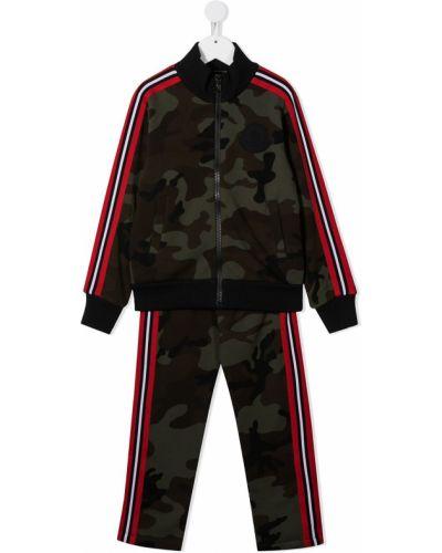 Хлопковый прямой спортивный костюм на молнии Moncler Kids