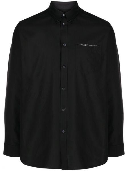 Puchaty czarny koszula zapinane na guziki z kieszeniami Givenchy