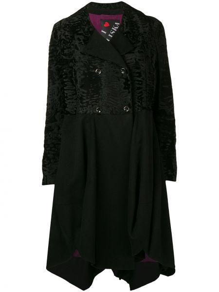 Черное пальто классическое двубортное из овчины Liska