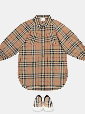 Miękki beżowy skórzany bawełna sukienka mini Burberry Kids