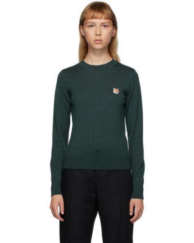 С рукавами зеленый шерстяной длинный свитер с воротником Maison Kitsuné