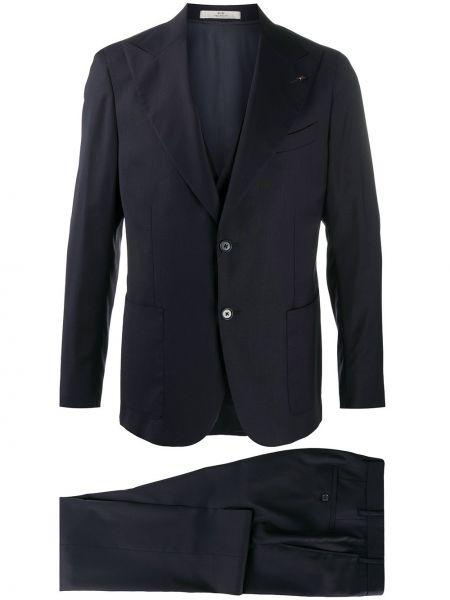 Niebieski kostium garnitur trójka z kieszeniami za pełne Corneliani