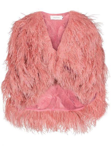 Розовый пиджак с перьями круглый Marques'almeida