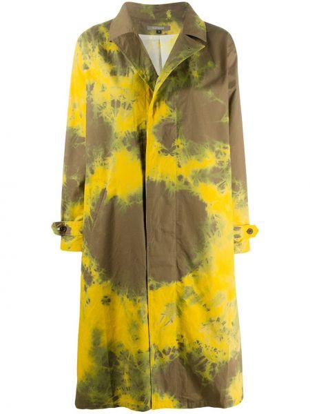 С рукавами желтое пальто на пуговицах с лацканами Suzusan