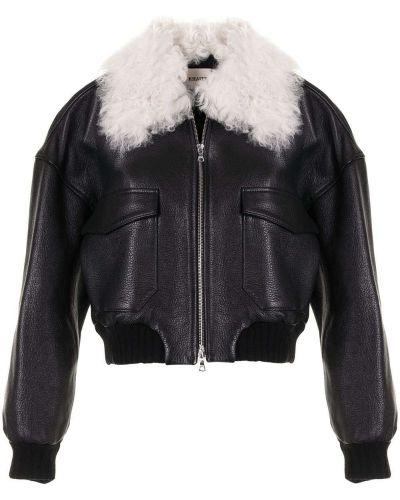 Черная длинная куртка на молнии с воротником Khaite