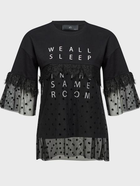 Кружевная хлопковая черная футболка Silvian Heach