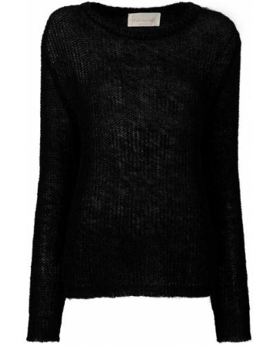 Вязаный джемпер черный в рубчик Chiara Bertani