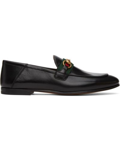 Czarny loafers na pięcie z prawdziwej skóry prążkowany Gucci