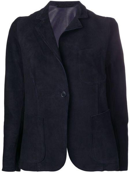 Однобортный синий кожаный пиджак Salvatore Santoro