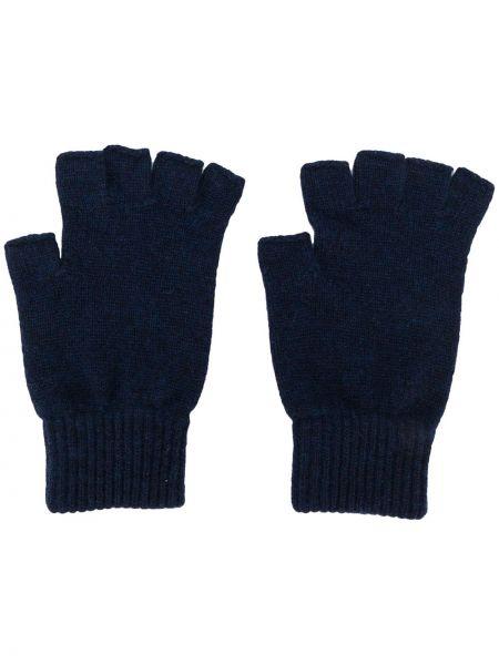Prążkowane z kaszmiru niebieskie rękawiczki bez palców Pringle Of Scotland