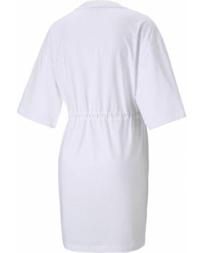 Белое платье миди с принтом Puma