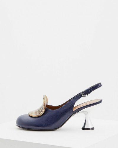 Кожаные туфли с открытой пяткой осенние Marni
