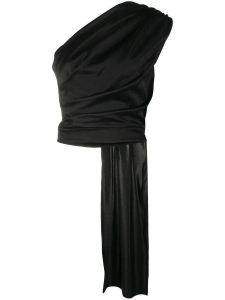 Облегающий шелковый черный топ с драпировкой Matériel