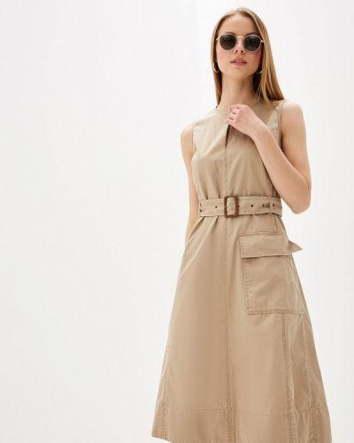 Прямое бежевое платье Polo Ralph Lauren