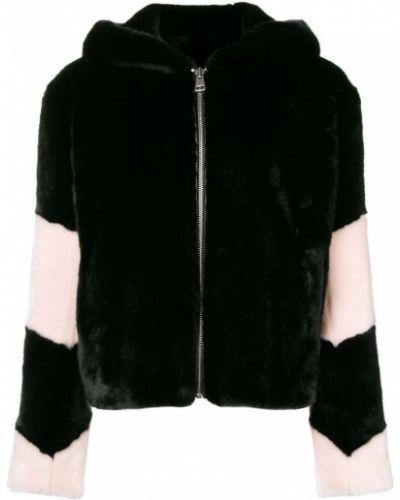 Черная длинная куртка для полных из искусственного меха La Seine & Moi