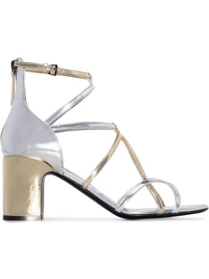 Кожаные серебряные лаковые босоножки на каблуке Fabrizio Viti