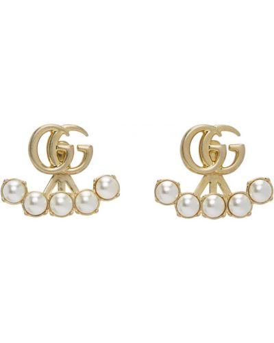 Kolczyki ze sztyftem złoto metal z perłami Gucci