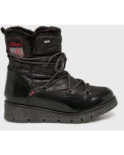 Кожаные сапоги зимние на каблуке S.oliver