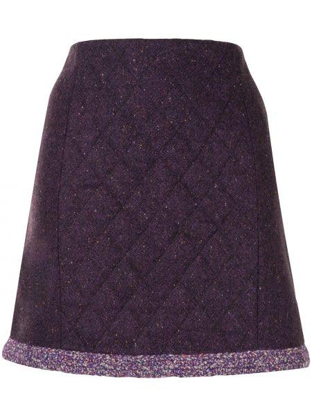 Стеганая фиолетовая с завышенной талией юбка мини на молнии Paule Ka