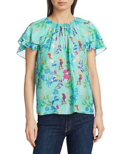 Шелковая блузка с V-образным вырезом Tanya Taylor