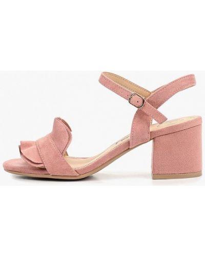 Босоножки на каблуке замшевые розовый Betsy