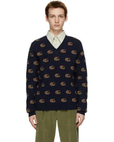 Niebieski wełniany długi sweter z kołnierzem Gucci