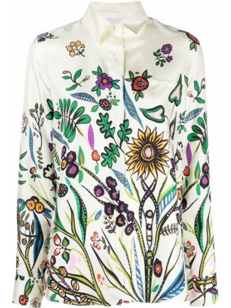 Шелковая с рукавами классическая рубашка с воротником La Doublej