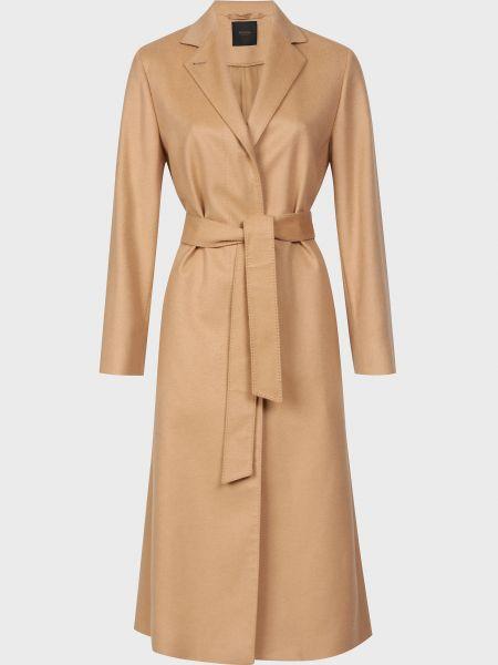 Бежевое кашемировое пальто с поясом Agnona
