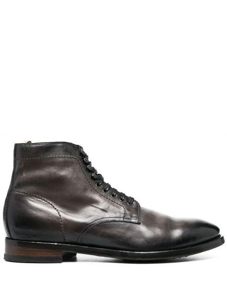 Ciemny brąz buty obcasy zasznurować okrągły nos z prawdziwej skóry Officine Creative
