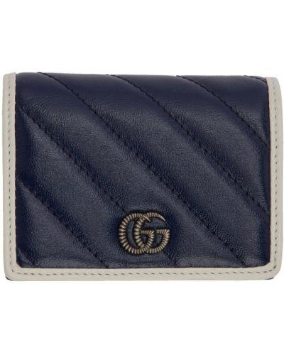 Skórzany pikowana biały portfel z gniazdem Gucci