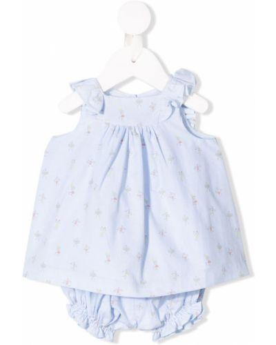 Синее платье без рукавов с вырезом квадратное Knot