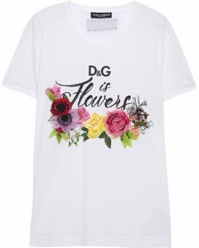 Хлопковая белая футболка с вышивкой Dolce & Gabbana