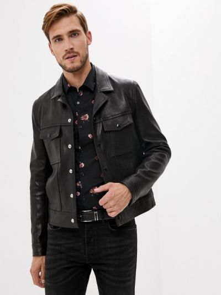 Кожаная куртка - черная The Kooples