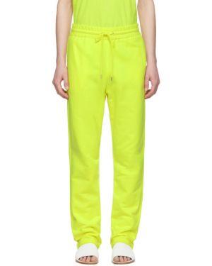 С кулиской желтые махровые брюки с карманами A_plan_application