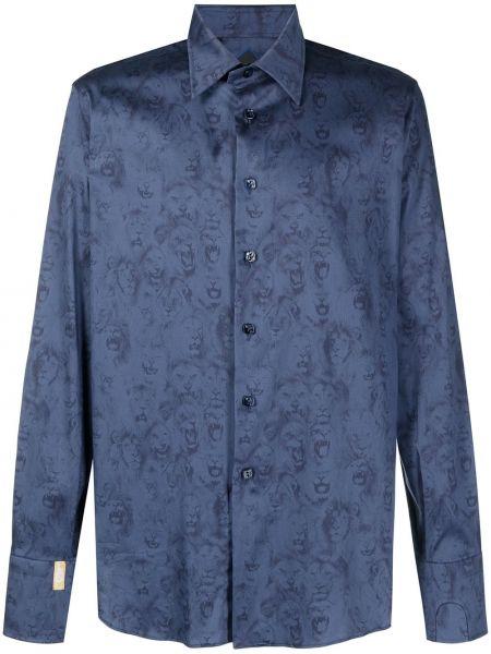 Хлопковая синяя рубашка с длинными рукавами Billionaire
