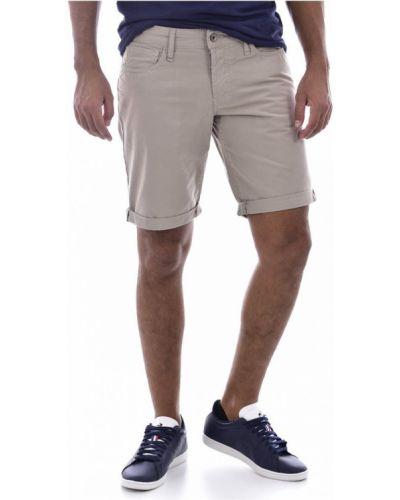 Beżowe bermudy jeansowe bawełniane zapinane na guziki Guess