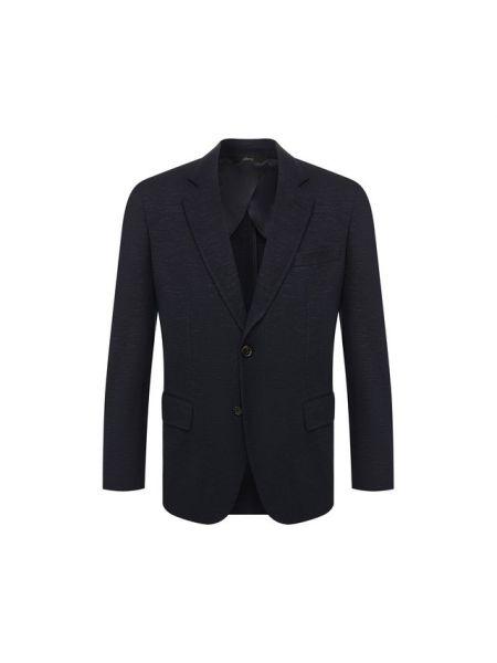Темно-синий мягкий замшевый однобортный пиджак Brioni