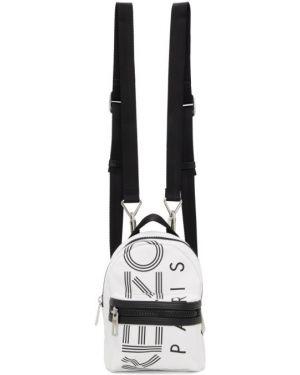 Кожаный рюкзак белый на молнии Kenzo