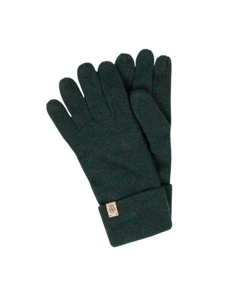 Prążkowane zielone rękawiczki wełniane Roeckl