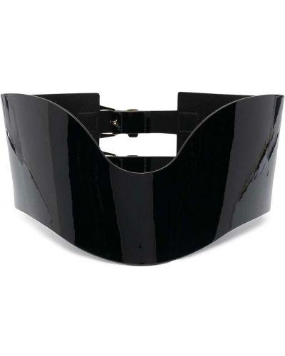 Черный кожаный корсет с поясом Philipp Plein