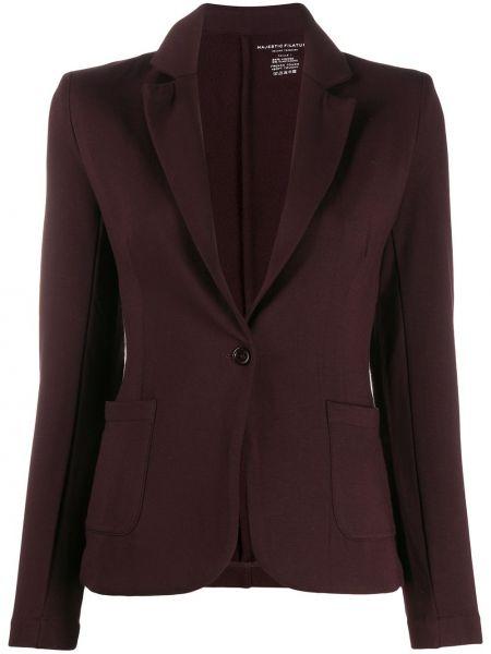 Коричневый приталенный классический пиджак с карманами из вискозы Majestic Filatures