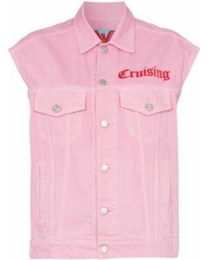 Розовая джинсовая куртка с вышивкой Adaptation