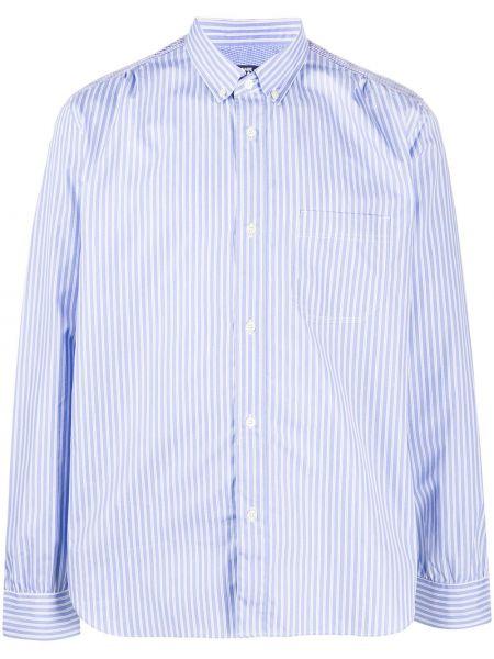 Синяя рубашка с нашивками с манжетами на пуговицах Junya Watanabe Man