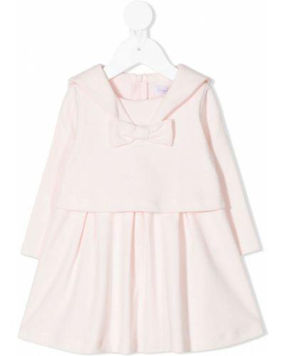 Прямое розовое платье с рукавами с воротником с длинными рукавами Patachou
