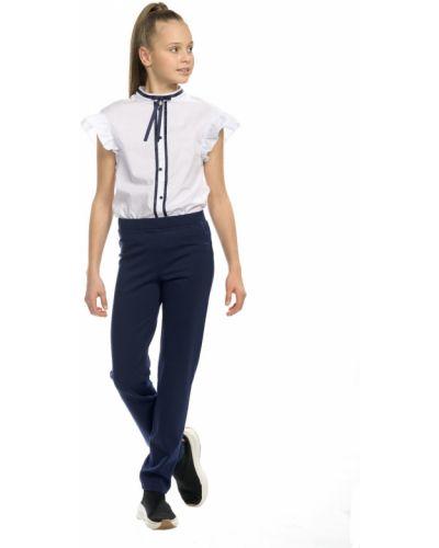 Прямые школьные классические брюки на резинке Pelican