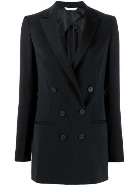 Черный классический пиджак двубортный с карманами Tonello