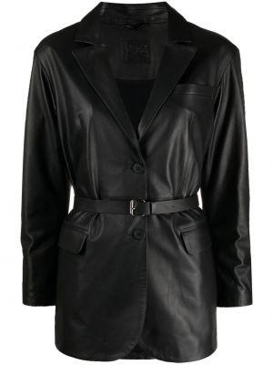 Черный кожаный удлиненный пиджак с карманами Desa 1972